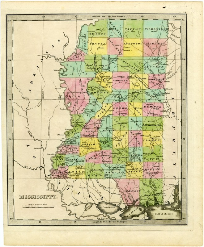 Mississippi History Timeline - Mississippi counties map