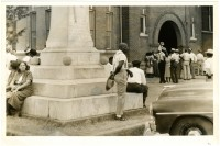 Outside courthouse during trial (MDAH Collection)