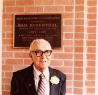 Sam Rosenthal in front of the new Rolling Fork city hall, 1980 (Courtesy of the Institute of Southern Jewish Life)